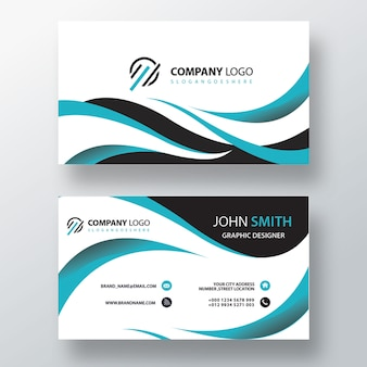 Wavy stylish visit card template