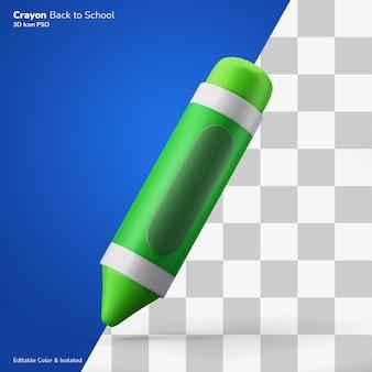 Восковой карандаш дети искусство инструмент символ 3d рендеринг значок редактируемый изолированный