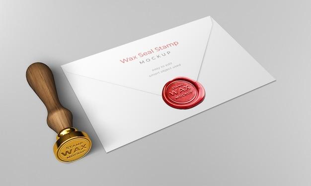 Wax seal stamp envelope mockup