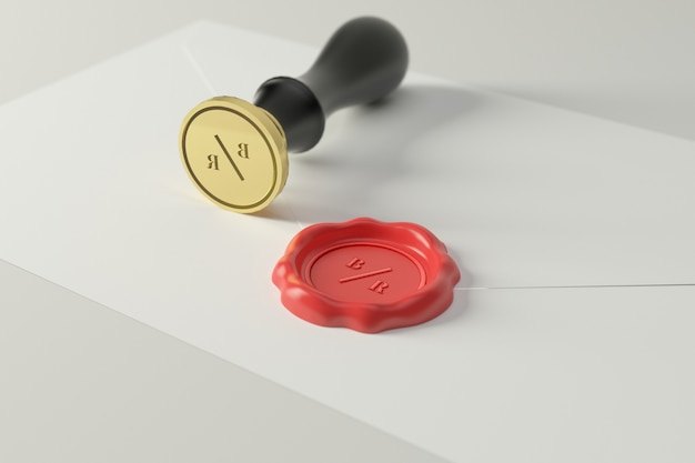 Wax seal stamp logo mockup