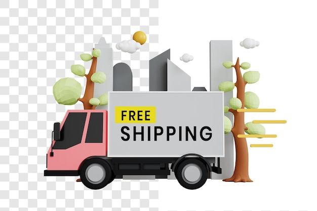 On the way free shipping 3d illustration concept