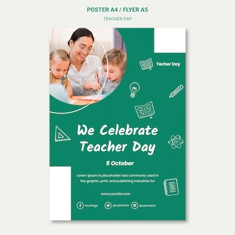 We are celebrating teacher day poster template