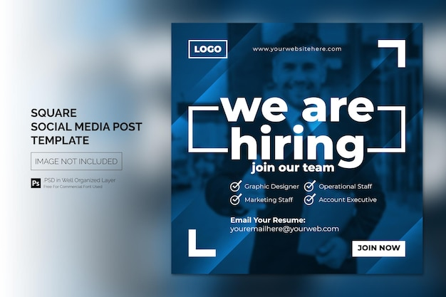 We are hiring job vacancy square banner or social media post template