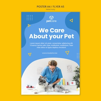 We care about your pet veterinary poster template