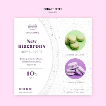 We love macarons square flyer template
