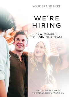 We're hiring new member to join our team poster template mockup