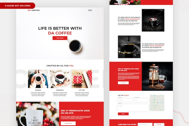 We sell coffee landing page