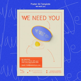 We want you a4 poster template Free Psd