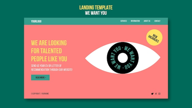 We want you landing page template