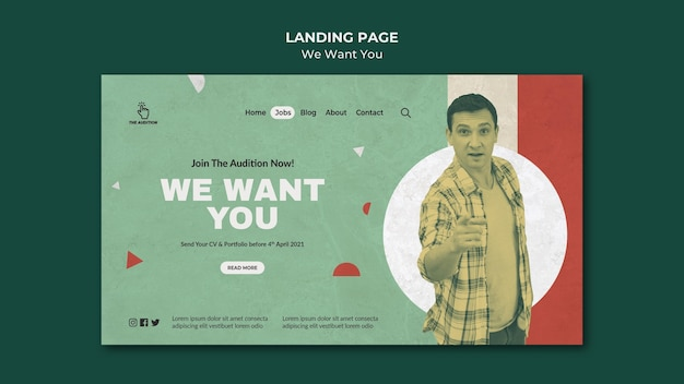 We want you landing page