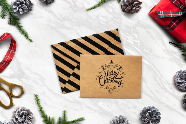 We wish you a merry christmas card mockup