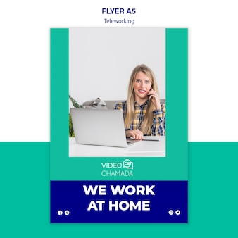We work at home flyer template