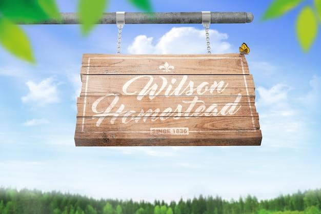 Weathered wood logo mockup