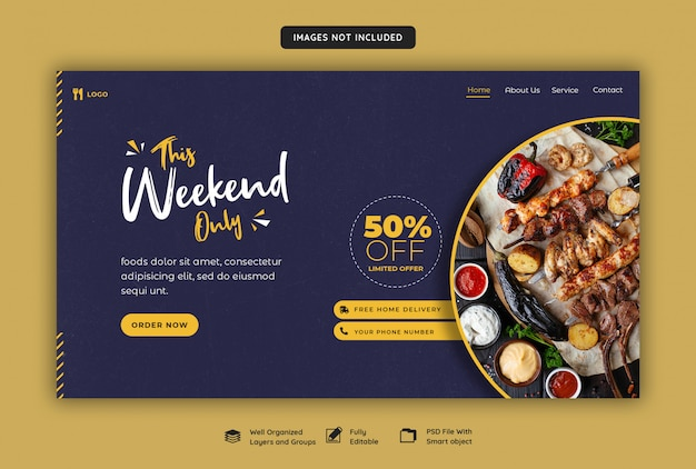 Web banner for food and restaurant