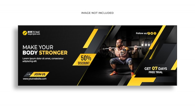 Web banner  template for gym fitness psd premium template