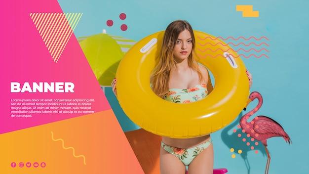 여름 컨셉으로 멤피스 스타일의 웹 배너 템플릿