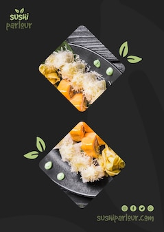 Web banner template for japanese restaurant