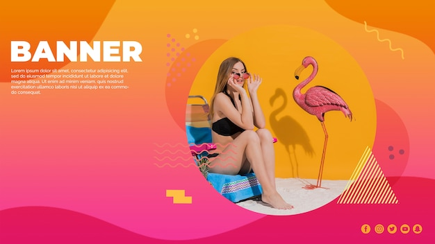 Web banner template in memphis style with summer concept