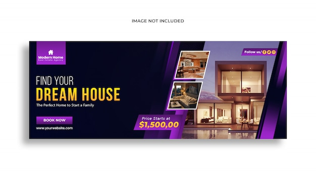 Web banner  template for  real estate social media post premium psd template
