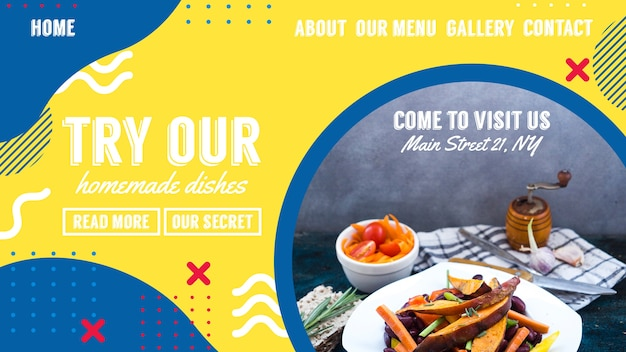 Web banner template for restaurant in memphis style