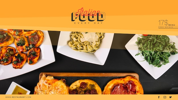 Web banner template with italian food concept