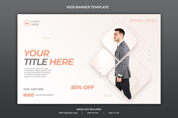 Web banner template with modern fashion sale or business promotion concept