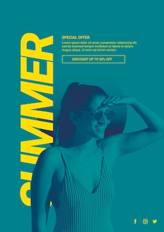 Web banner template with summer concept