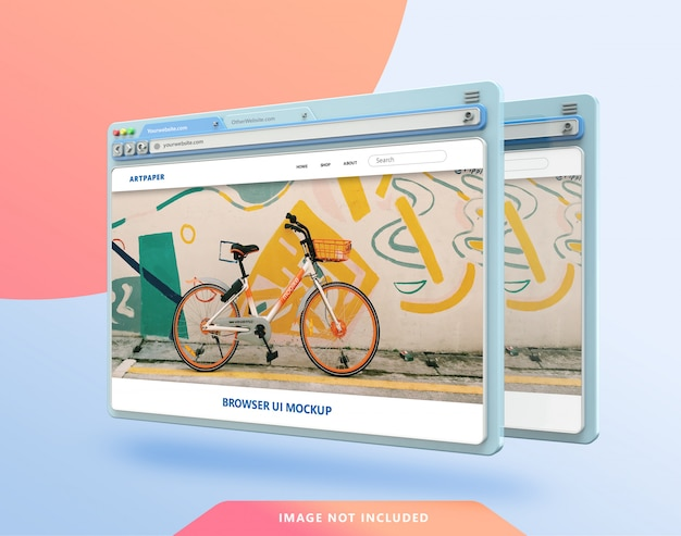 Web browser ui 3d mockup with pastel color