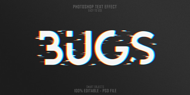 웹 버그 3d 텍스트 스타일 효과 템플릿