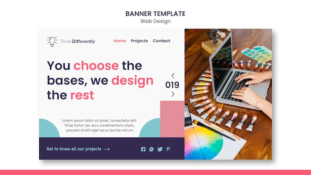 웹 디자인 개념 배너 서식 파일