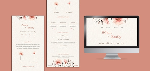 Web design concepts for wedding