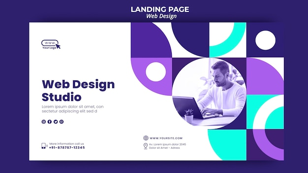 Web design studio landing page template