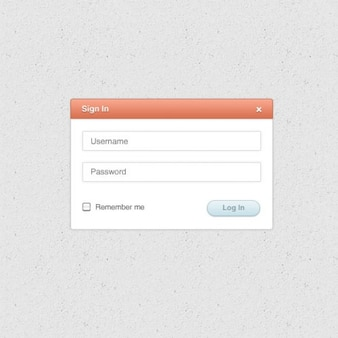 Web login form with username and password