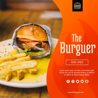 Web mockup with hamburger concept