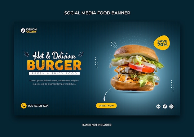 Web and social media fast food banner template