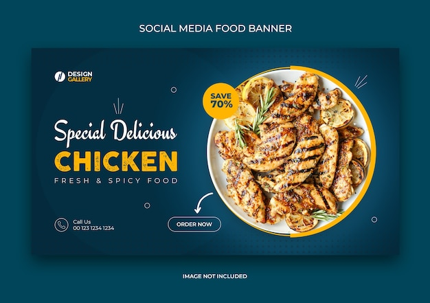 Web and social media fast food restaurant banner template