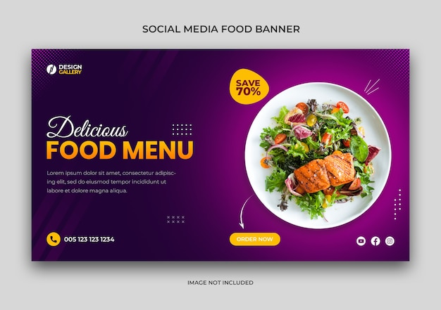 Web and social media fast food restaurant banner template Premium Psd