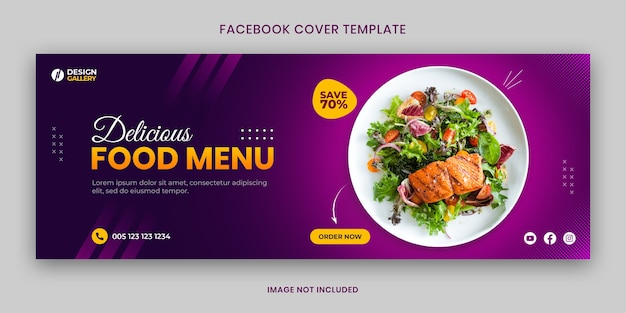 Web and social media fast food restaurant cover banner template
