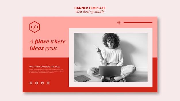 Modello di banner design web studio