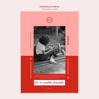 Modello di poster design studio web