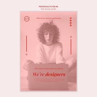 웹 스튜디오 디자인 포스터 템플릿 무료 PSD 파일