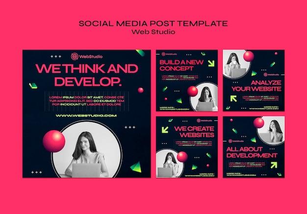 웹 스튜디오 소셜 미디어 게시물