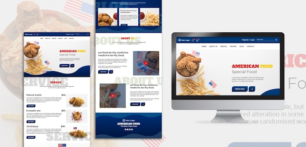 Web template for american food restaurant Free Psd