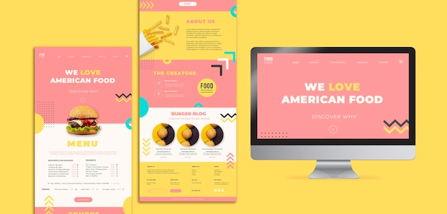 ハンバーガーとアメリカ料理のwebテンプレート