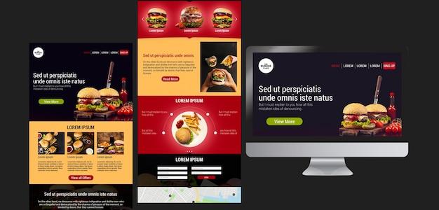 Веб-шаблон для бургер-ресторана Бесплатные Psd
