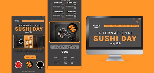 Web template for international sushi day