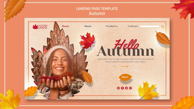 Web template for landing page with welcoming autumn season