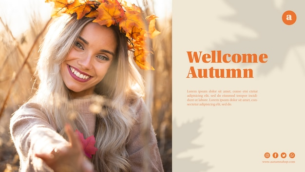 Web template with beautiful woman with leaves crown
