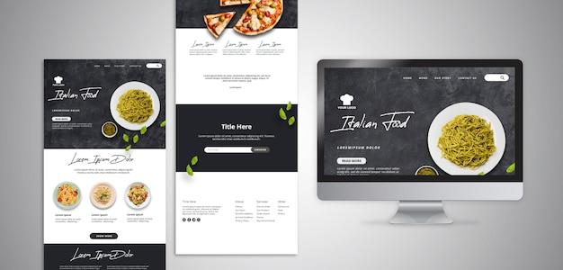 伝統的なイタリア料理レストランのランディングページを含むwebテンプレート