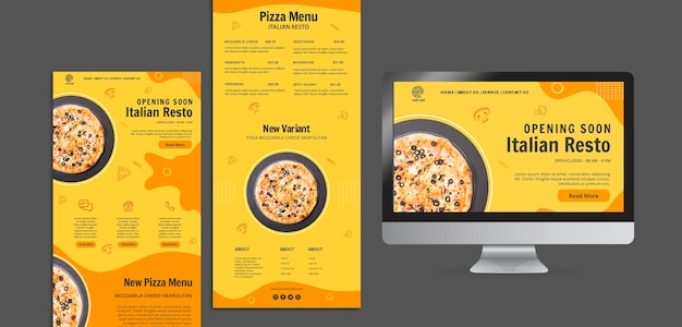 Web template with landing page for italian food bistro